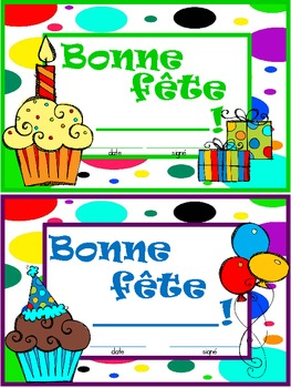 French Birthday Certificate / Bonne fête!