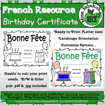 French Birthday Certificate for your students. Customize in various formats.