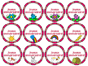French Birthday Gift Toppers - Joyeux anniversaire!