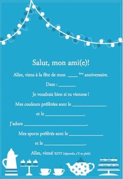French Birthday invite 4 of 6-Writable PDF & Printable
