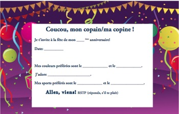 French Birthday invite 5 of 6-Writable PDF & Printable