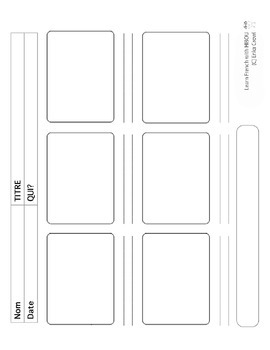 French: Blank Story Frame with Teacher's Key/Example