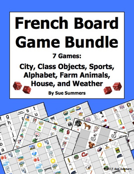 French Games Bundle of 7 - Animals, Weather, City, House, Sports, and More!