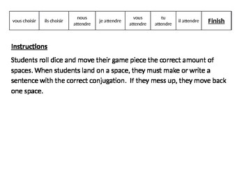 French Board Game - IR and RE Verbs
