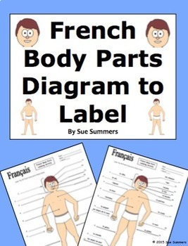 French Body Parts Diagram to Label with 20 Body Parts