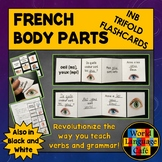 French Body Parts Flashcards, Interactive Notebook Trifold Flashcards