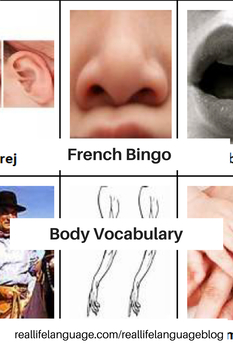 French Body Parts Vocabulary Bingo