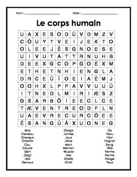 French Body Parts Word Search Puzzle - Mots cachés sur le corps humains