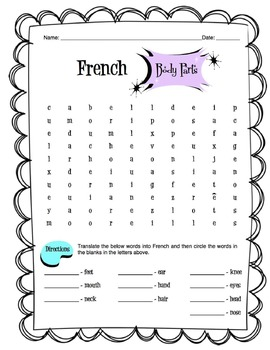 French Body Parts Worksheet Packet