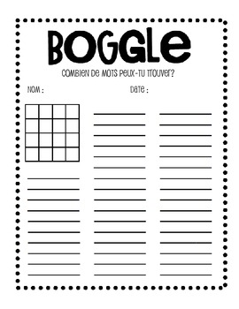 French Boggle Sheet