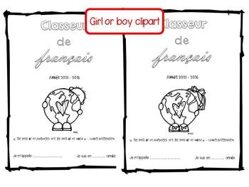 French Book/Binder Title Page – Page de Garde pour Cahier/Classeur de Français