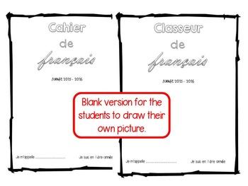 French Book Binder Title Page Page De Garde Pour Cahier Classeur De Français