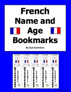 French Bookmark With Name and Age