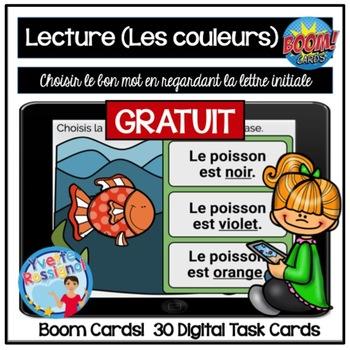 French Boom Cards La Lecture (Les couleurs) La lettre initiale GRATUIT