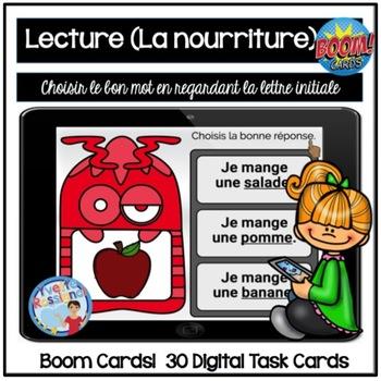 French Boom Cards  La lecture  (La nourriture) La lettre initiale