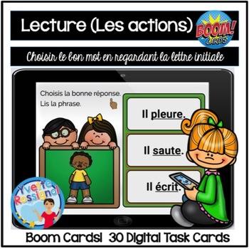 French Boom Cards La lecture (Les actions) La lettre initiale