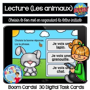 French Boom Cards  La lecture (Les animaux) La lettre initiale