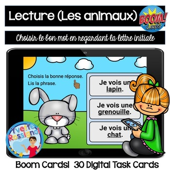 French Reading Comprehension - Compréhension de lecture - Les animaux Boom Cards