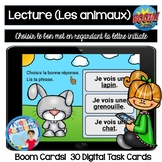 Compréhension de lecture pour LES ANIMAUX | French Reading with Boom Cards