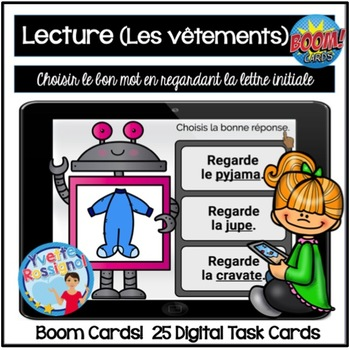 French Boom Cards  La lecture (Les vêtements) La lettre initiale
