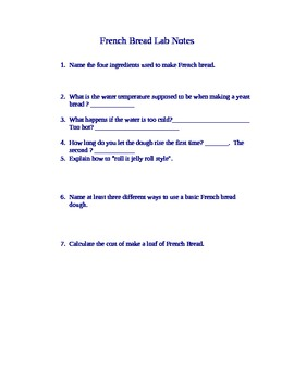 French Bread Lab Notes