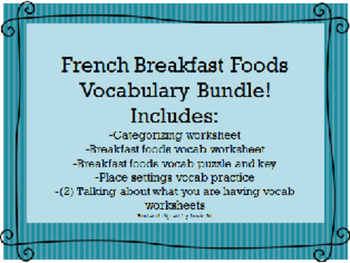 French Breakfast Foods and Drinks Vocabulary Bundle