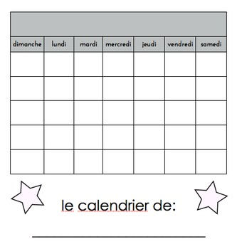 "French ""Build your own calendar"""