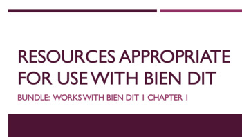French Bundle : items appropriate for teaching Bien Dit 1 ch. 1