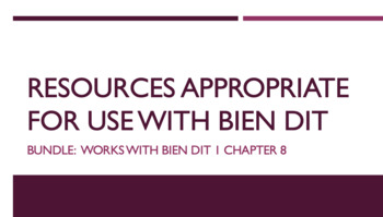 French Bundle : items appropriate for teaching Bien Dit 1 ch. 8