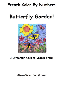 French Butterfly Garden Color By Numbers