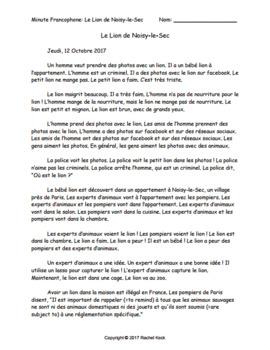 French CI current event story: Le Lion de Noisy-le-Sec, slides, answer keys