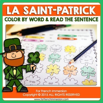 FRENCH Saint Patrick's Day | La Saint-Patrick: color by word