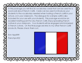 French Cafe Word Wall words and Speaking Dialogue Ontario French Culture