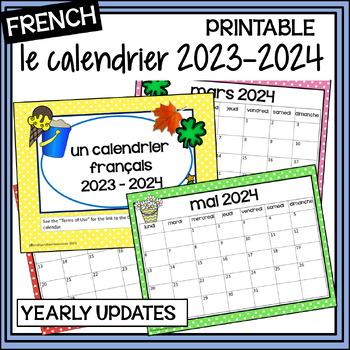 French Calendar - Calendrier 2016-2017