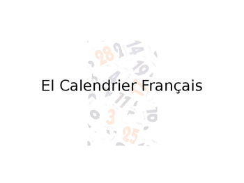 French Calendar Guided Notes