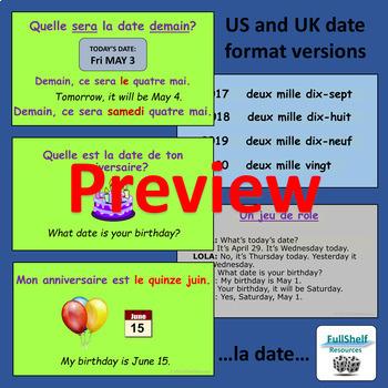 French Calendar Presentation (Le Calendrier: Days, Months, Dates)