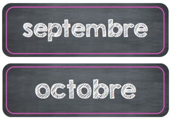 French Calendar Months - editable