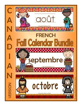 French Calendar Pocket Chart Bundle for Fall - Canadian Version