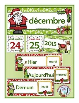 French Calendar Pocket Chart Bundle for Winter- Canadian Version