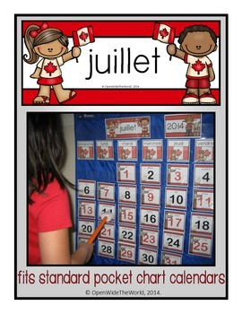 French Calendar Set for July - Canada Day theme (for pocket chart calendars)