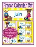 French Calendar Set for June - beach theme (for pocket chart calendars)