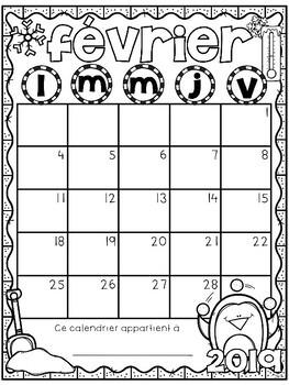 French Calendar Templates 2017-2018