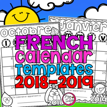 Editable French Calendar Templates 2017 2018 By Peg Swift French