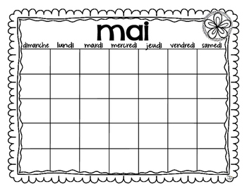 French Blank Calendar Templates