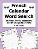 French Calendar Word Search Puzzle, IDs, and Vocabulary - Days, Months, Seasons