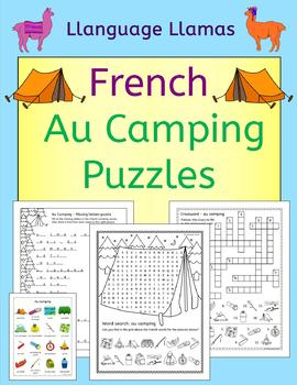 French Camping Vocab Puzzles