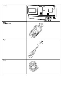 French Camping Vocabulary Word Cards