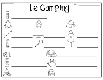 French Camping Write the Room