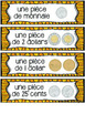French Canadian Money Math Wall cards (La monnaie canadienne vocabulaire)