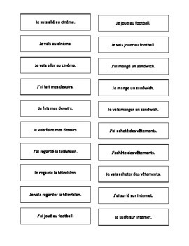 French Teaching Resources. Cards: Present, Perfect & Near Future Tenses.